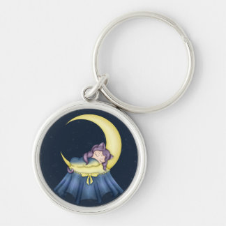 Luna Lullaby Cat Sleeping On The Moon Keychains