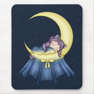 Luna Lullaby Cat Sleeping On The Moon Mouse Pad
