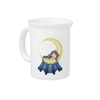 Luna Lullaby Cat Sleeping On The Moon Beverage Pitchers