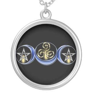 Luna lunar espiral triple colgantes
