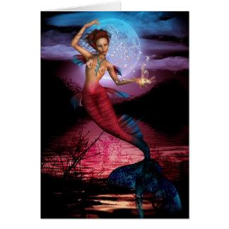 Luna mágica de la sirena tarjeta de felicitación