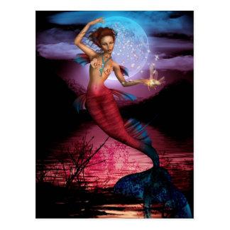 Luna mágica de la sirena tarjeta postal