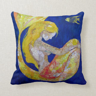 Luna - mermaid collage throw pillow