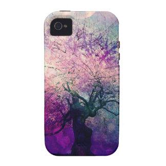 Luna mística del árbol y de la noche Case-Mate iPhone 4 funda