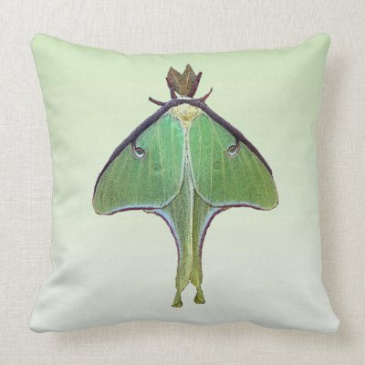 This throw pillow features the incredible luna moth, a lime-green, ...