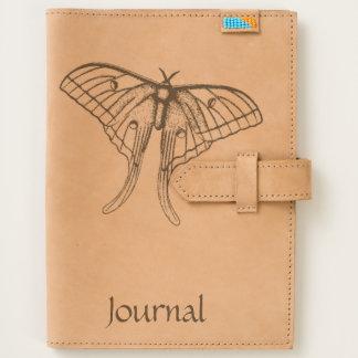 Luna Moth Art Monogram Leather Folio Journal