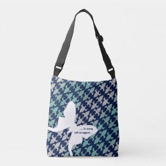 Luna Moth Buffalo Plaid Damask Mint Midnight Blue Crossbody Bag