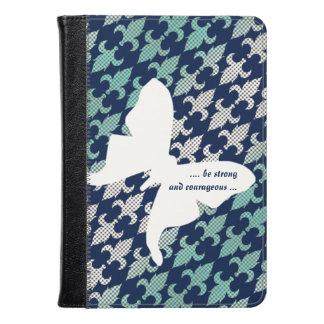 Luna Moth Buffalo Plaid Damask Mint Midnight Blue Kindle Case