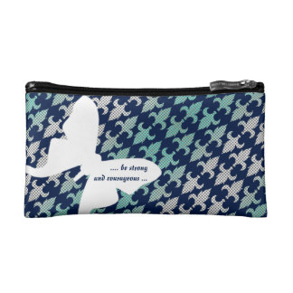 Luna Moth Buffalo Plaid Damask Mint Midnight Blue Makeup Bag