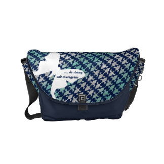 Luna Moth Buffalo Plaid Damask Mint Midnight Blue Small Messenger Bag