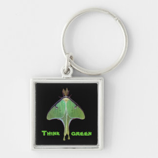 Luna Moth Earth Day Silver-Colored Square Keychain