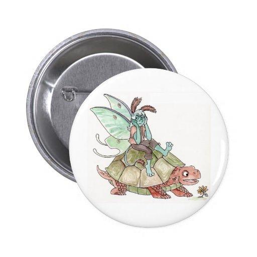Luna Moth Faerie Riding a Tortoise Button