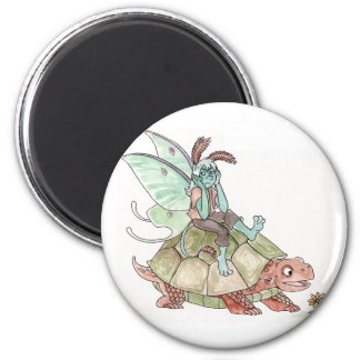 Luna Moth Faerie Riding a Tortoise Magnet