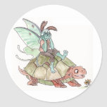 Luna Moth Faerie Riding a Tortoise Stickers