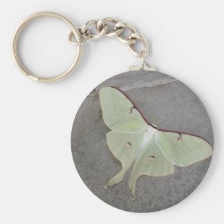 Luna moth gray background-keychain basic round button keychain