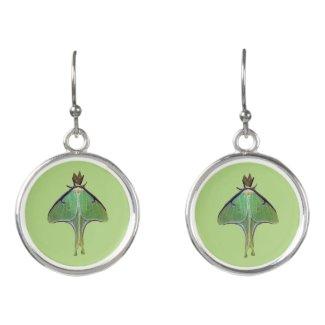 Luna Moth Green Animal Drop Earrings