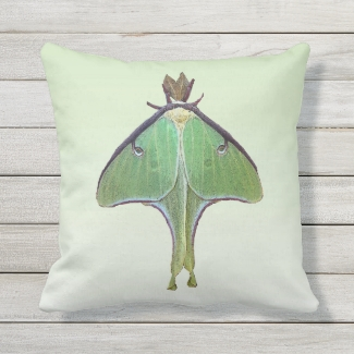 Luna Moth Green Animal Outdoor Pillow
