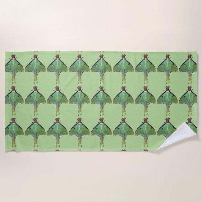 Luna Moth Green Beach Towel