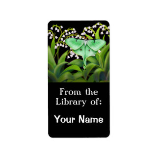 Luna Moth in Lily of the Valley Flowers Bookplate Personalized Address Labels