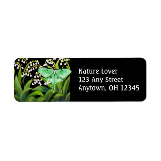 Luna Moth in Lily of the Valley Flowers Label