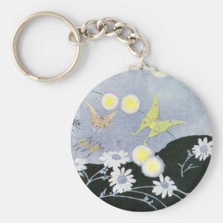 Luna Moth Lit by Glowing Fireflies Basic Round Button Keychain