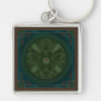Luna Moth Mandala Silver-Colored Square Keychain