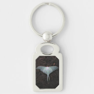 luna moth nature butterfly fairy fantasy dream Silver-Colored rectangular metal keychain