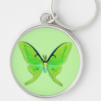 Luna moth on a pale green background Silver-Colored round keychain