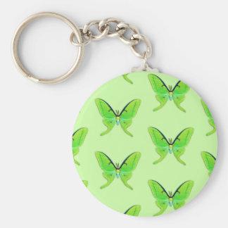 Luna moth on a pale green background basic round button keychain