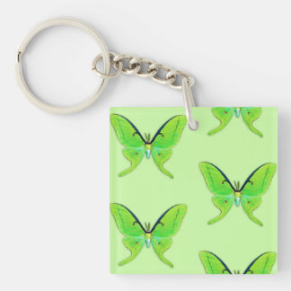 Luna moth on a pale green background Double-Sided square acrylic keychain
