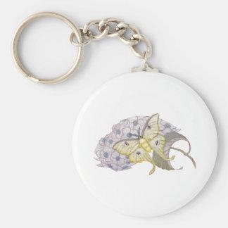 Luna Moth on Hydrangea Flowers Basic Round Button Keychain