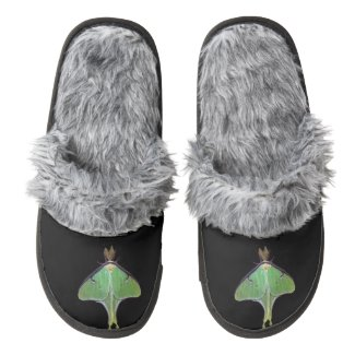 Luna Moth Pair of Fuzzy Slippers