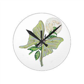 Luna Moth Round Clocks