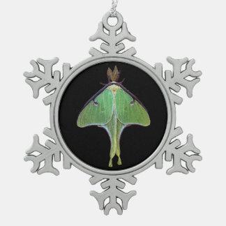 Luna Moth Snowflake Pewter Christmas Ornament