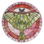 Luna Moth Stained Glass Nouveau Dinner Plate