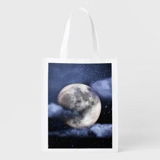 Luna nublada bolsa reutilizable