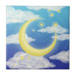 Luna pálida en azul azulejos ceramicos
