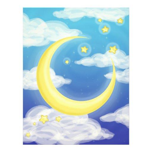 Luna pálida en azul flyer personalizado
