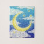 Luna pálida en azul rompecabeza