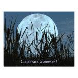 Luna, pantano, e invitación del fiesta del verano