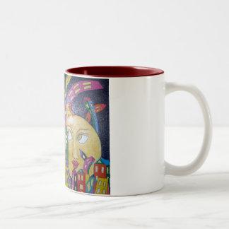 Luna pegada taza de café de dos colores