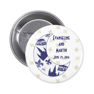 Luna personalizada del creciente de New Orleans Pin Redondo De 2 Pulgadas