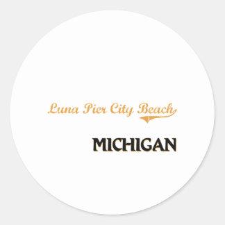 Luna Pier City Beach Michigan Classic Classic Round Sticker