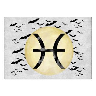 Luna Piscis del palo Tarjetas De Negocios
