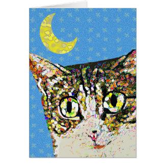 Luna popular del creciente del gato tarjeta de felicitación