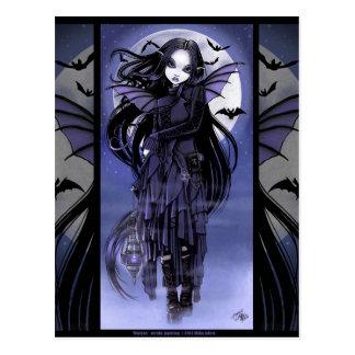 Luna púrpura de hadas Morgan Postcad del palo de v Postales