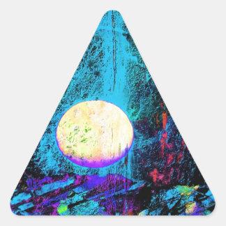 Luna púrpura del arte el   de la luna pegatina triangular