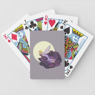 Luna que mira el cielo de hadas de la tarde de la baraja cartas de poker