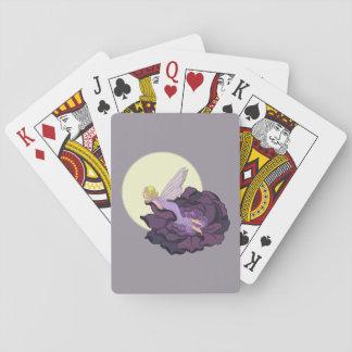 Luna que mira el cielo de hadas de la tarde de la cartas de juego
