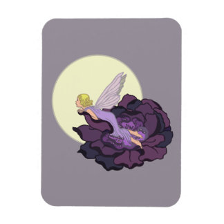 Luna que mira el cielo de hadas de la tarde de la imán rectangular
